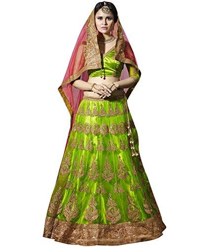 Indian Ethnicwear Bollywood Pakistani Wedding Lime Green A-Line Lehenga Semi-stitched