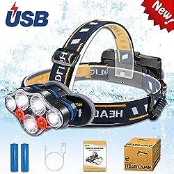 Aukelly Linterna Frontale LED Recargable Frontal Luz Cabeza Linterna Frontales Alta Potencia,Lámpara de Cabeza 8 Modos,Frontale Linterna 1000 Lumen,USB Linterna Frontal para Camping,con 18650 Baterías