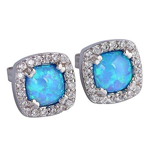 Square Blue opal earrings simulated diamond 925 sterling Silver women's stud earrings fashion jewelry E377