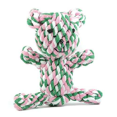 Hundespielzeug Hund   Tauspielzeug Hund   'Bär', rosa-pink-hellblau-weiß   Spielzeug für Hunde zum Kauen   Seilspielzeug   Kauspielzeug   Kauseil   Welpenspielzeug - 2