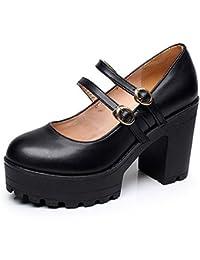 Kalends, piel auténtica hebilla plataforma Casual bombas de tacones altos zapatos de trabajo