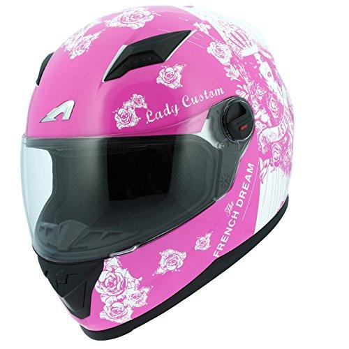 Astone Helmets gt2g-ladyc-pwxs casco Moto Integral GT Lady Custom, Rosa/Blanco, talla XS