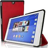 igadgitz Rojo Funda Carcasa PU Cuero para Sony Xperia Z3 Tablet Compact SGP611 + Protector Pantalla