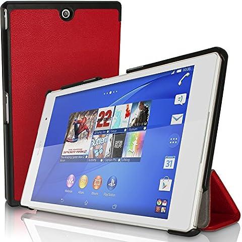 igadgitz Premium Rouge PU Cuir Smart Cover Etui Housse Case pour Sony Xperia Z3 Tablet Compact SGP611 avec Support Multi-Angles + Mise en Veille / Réveil + Film de Protection