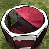 Greenbay Fabric Pet Playpen Puppy Cat Guenea Pig Soft Play Pen with Bottle Belt Small Red