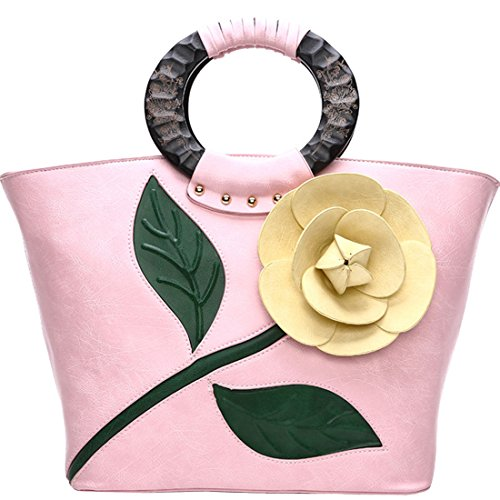 KAXIDY Damen Mode Blume PU Leder Handtasche Umhängetasche Handgelenkstaschen Henkeltaschen Rosa