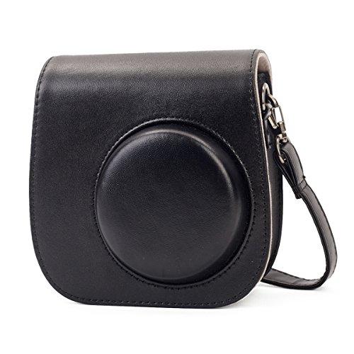 Leebotree Tasche für Fujifilm Instax Mini 8 8+/Mini 9 Sofortbildkamera aus Weichem Kunstleder mit Schulterriemen und Tasche (Black)