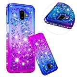 Kristall Transparent Hülle für Samsung Galaxy J6 Plus,CESTOR Luxus Diamond Edge Flüssig Treibsand Ultra Dünn Weich Silikon TPU Bling Glänzend Dauerhaft Schutzhülle für Samsung J6 Plus,Blau + Lila