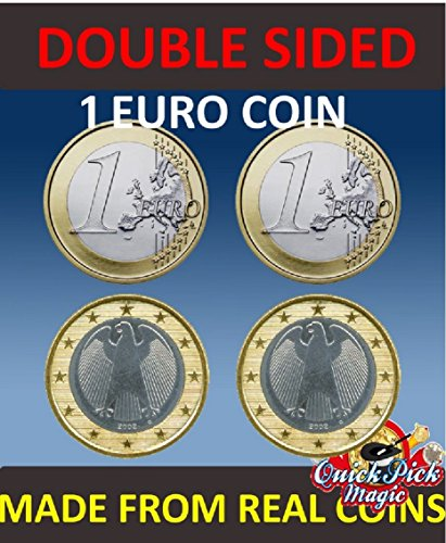 QUICK PICK MAGIC Pair of REAL Double Sided 1 Euro Coin [1 Two Headed and 1 Two Tailed Euro Coin] --------- Paar REAL BEIDSEITIG 1 Euromünzen [1 Two Headed und EIN Zwei -Euro-Münze Tailed ]