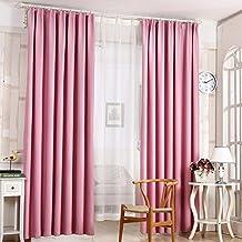 Sólido oscuras cortinas del dormitorio de la sala Mirador Balcón Cortinas - rosa