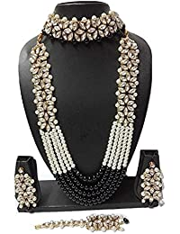 Catalyst Traditional Stone N Pearl Long Necklace Set With Earrings For Women