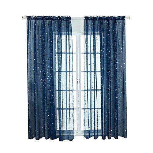 Star a rete voile tulle finestra tenda in voile, moderno per camera da letto bambini soggiorno, tende (navy)