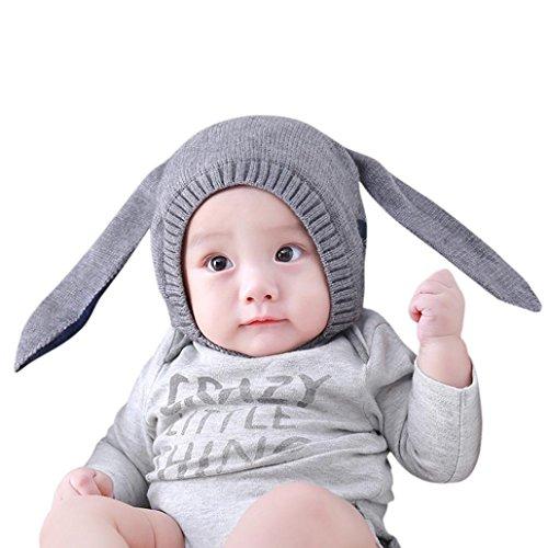 Mütze Kinder Warm Haube Wintermütze Schlupfmütze Junge Mädchen Schalmütze Hüte Mützen Kleinkinder Hasen Kapuze Mönchskutte Schirmmütze LMMVP (Grau) (Solid Modische Wolle)