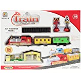 Planet of Toys Mini Electric Deluxe Train Track Game Play Set - 24 Pieces Pack for Kids/Children