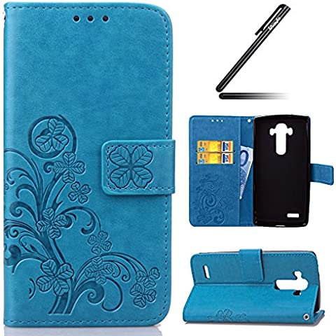 LG G4 Custodia, Ukayfe Custodia portafoglio / wallet / libro in pelle - 3D Disegni Fiore Sollievo, 3D Trifoglio Goffratura Cover elegante e di alta qualità ,Ukayfe Moda Deisng stampa dell'unità di elaborazione di vibrazione del cuoio magnetico della copertura della cassa del foglio con la copertura del supporto di carta del basamento di caso del basamento di protezione per LG G4 con Stilo Penna-Blu