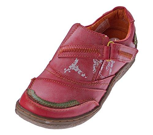 TMA Comfort Damen Leder Schuhe Turnschuhe Rot Slipper Sneakers Halbschuhe Ziernähte Gr. 39