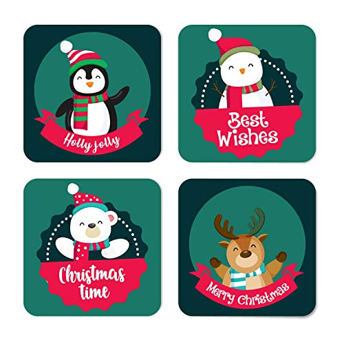 YaYa Cafe™ Christmas Gifts Penguin Snowman Reindeer Marry Christmas Wooden Printed Table Coasters for Dining Table – Set of 4
