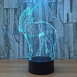 3D Illusion Geburtstag Nachtlicht, 7 Farben ändern Touch LED Lampe für Kinder Geburtstagsgeschenk (Einhorn)