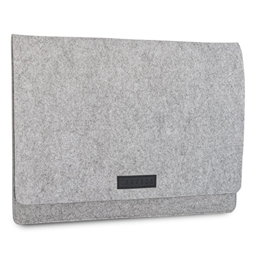 KANVASA Filz Laptop Sleeve 13-13,3 Zoll MacBook Air 13 (ab 2011) & Pro (ab 2012)- Premium Hülle Laptophülle Filztasche grau/schwarzem Leder - Notebook Tasche Ultrabook von Microsoft ACER HP Dell UVM.