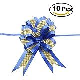 ULTNICE 10pcs Bowknot Geschenk Bogen Band Verpackungs Bindung Band Bogen für Partei (Marine-Blau)