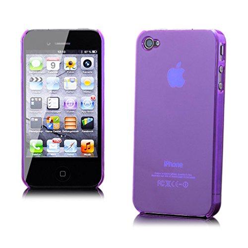 iCues Apple iPhone 4/4S |  Ultra Slim Case Schwarz | [Display Schutzfolie Inklusive] Extra Leicht sehr Dünn Transparent Klarsichthülle Durchsichtig Klare Klarsicht Schutzhülle Hülle Cover Schutz Purple