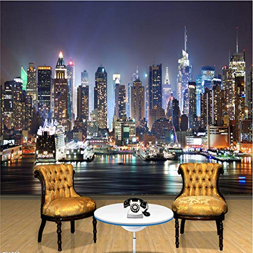 oto Wandbild Tapete 3D New York City Nacht Landschaft Wandbild Wohnzimmer Sofa Tv Hintergrund Tapete Vlies ()