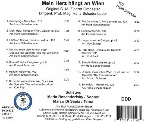 Ziehrer : Mein Herz hängt an Wien. Schadenbauer, C.M.Ziehrer O, Rosendorfsky.