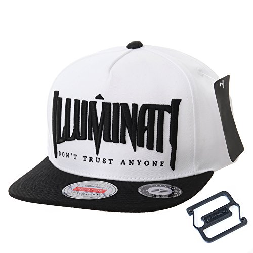 WITHMOONS Cappellini da baseball Cappello Snapback Hat Illuminati  Embroidery Hip Hop Baseball Cap AL2389 (White 13fc046b8be2