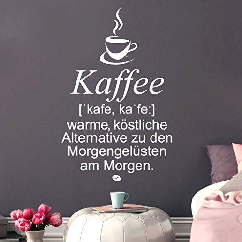 Wandtattoo Loft Spruch 'Kaffee ['kafe, ka'fe:]: warme, köstliche Alternative zu den Morgengelüsten...
