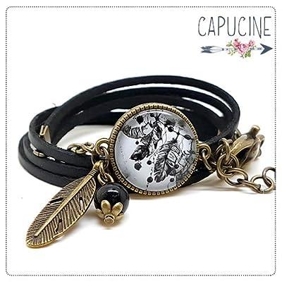 Bracelet noir plumes avec cabochon verre - Bracelet breloques bronze - Bracelet multi-rangs - Bracelet Attrape Rêves