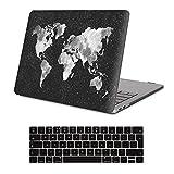 iCasso Case MacBook Air Hülle Ultra Slim Dünn Kratzfeste matt Rutschfest Hartschale Kunststoff Schutzhülle Snap Case für MacBook Air, MacBook Pro, Pro Retina (MacBook Air 13 inch, BlackWordMap)
