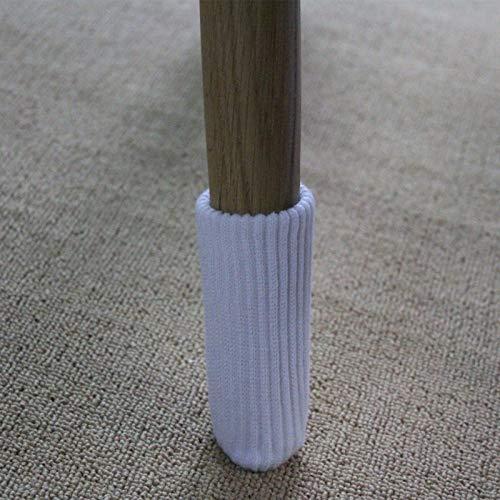FJTHY Double Knit Gepolsterte Tisch Und Stuhl Fuß Abdeckung Schutz Anti-Rutsch-8-Pack-Heim Geräuschreduzierung,Weiß,Abschnitt a