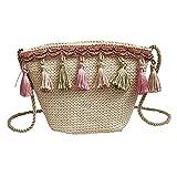OYSOHE Umhängetasche Damen Vintage Weben Quaste Messenger Bag Umhängetasche Fashion Strandtasche...
