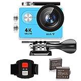 IXROAD Action Cam 4K Ultra HD WiFi Sport Camera Fotocamera Videocamera Telecamere Subacquea Sportive con Schermo LCD da 2 Pollici, Grandangolo da 170°, 2 Batteria, Telecomando, Kit Accessori (Blu)