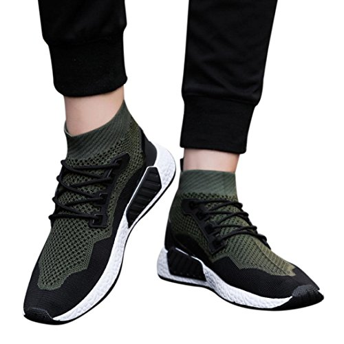 LiucheHD Moda Uomo Alta Aiuto Soft Sole Sportive Casual Traspiranti in Mesh Ginnastica Calze Stringate Scarpe (Verde, EU 43)