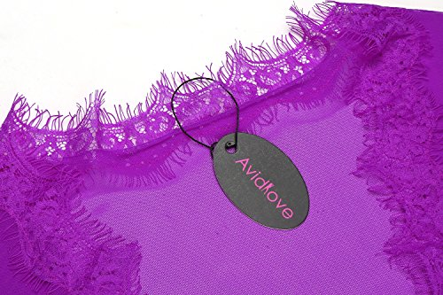 Avidlove Damen Gaze Kimono Spitze Morgenmantel mit G-String Nachtmantel Reizwäsche Negligee Nachtwäsche Dessous Lila