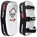 TurnerMAX Curved Thai Arm Pad Punching Martial Arts Thai Kick Boxing Strike Shield UFC MMA White Black
