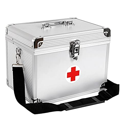 Songmics ABS Silver Aluminum First Aid Kit Medical Storage Case JBC361S