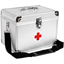 Songmics 2 Niveles Botiquín de Primeros Auxilios Depósito de medicamentos Marco de Aluminio ABS plateado 30 x 20,5 x 23 cm JBC361S