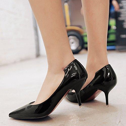 Damen Spitze Pumps Lackleder-Optik Büro Stilettos Mit 6.5cm Absatz Schwarz