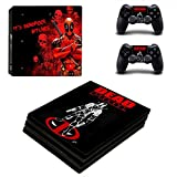 Hytech Plus Deadpool Black Edition Theme Sticker for PS4 PRO Console & 2 Controllers (Black)