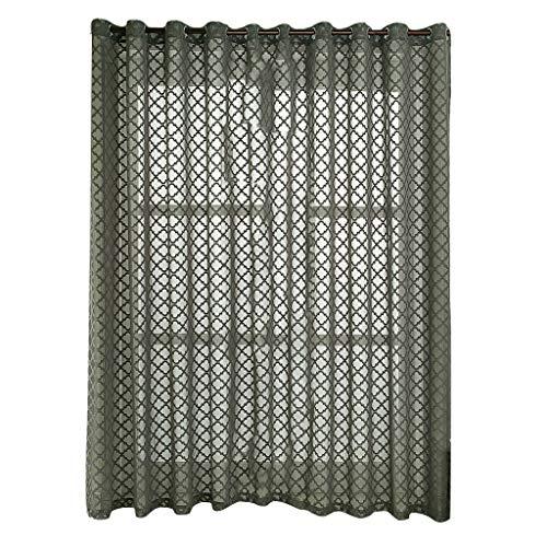 Orientalische Holz-bildschirm (HDUFGJ Gardinen Vorhang Halbtransparente Gardinen Fenster Bildschirm ländlichen Spitze geometrische feine Jacquard Tüll Fenster drapieren Volant Panel Stoff Fenster-Screening (140x260CM) Gray)