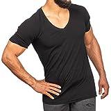 SMILODOX T-Shirt Herren mit V-Ausschnitt | Basic V-Neck für Sport Fitness Gym & Freizeit | Regular T-Shirt Kurzarm - Schlichtes Design - Leichtes Casual Shirt, Farbe:Schwarz, Größe:M