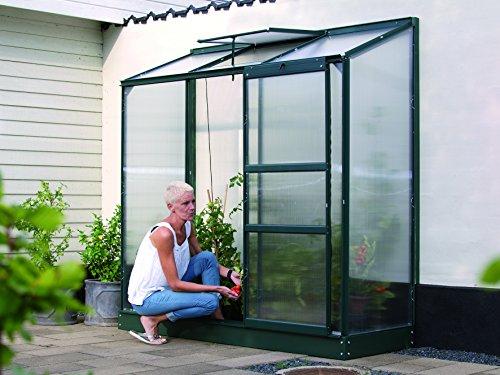 Gartenwelt Riegelsberger Anlehngewächshaus Ida – Ausführung: 1300 HKP 4 mm dunkelgrün, Fläche: ca. 1,3 m², mit 1 Dachfenster, Sockelmaß: 0,65 x 1,92 m
