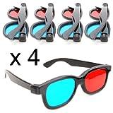 Conjunto de 4 3D-anáglifo para TV y PC-juegos (rojo/Azul), 3D gafas para TV, 3D-vasos con azul y-Tecnología - color