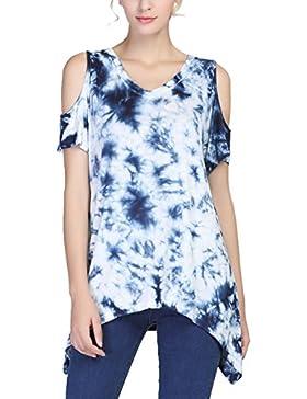 Urban GoCo Mujeres Moda Impresión Túnica Camisa Manga Corto de Escote en V Camiseta T-shirt