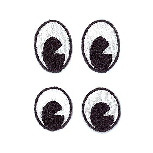 Rayher 69020000 Stoff Aufbügelmotiv Augen Oval, ca. 2,8x2cm, weiß+schw