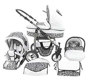 Chilly Kids Dino 3 in 1 Kinderwagen Set (Autosit & Adapter, Regenschutz, Moskitonetz, Schwenkräder) 32 Weiß & Snow Leopard