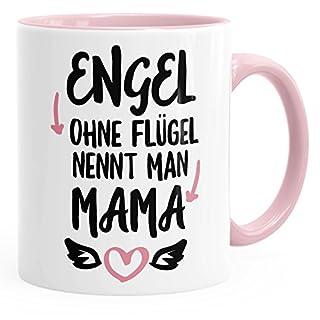 MoonWorks Kaffee-Tasse mirt Spruch Engel Ohne Flügel Nennt Man Mama glänzend Kaffeetasse Teetasse Keramiktasse Rosa Unisize