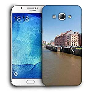 Snoogg Road Side Lake Printed Protective Phone Back Case Cover For Samsung Galaxy A8